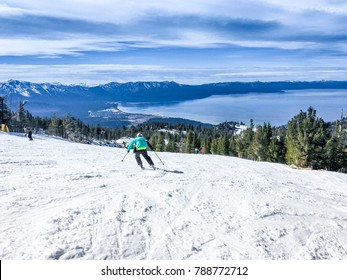 Famous Lake Tahoe winter landscape seen from ski resort
