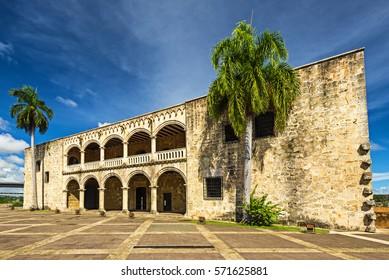 Famous landmark Alcazar de Colon in Santo Domingo Dominican Republic with vivid colors.
