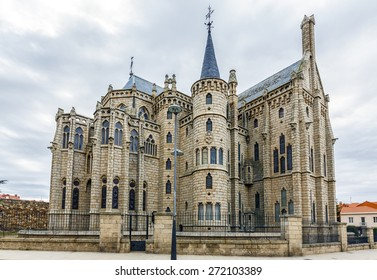 Famous landmark Astorga Epsiscopal Palace, in Astorga, Leon, Spain.