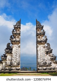 The famous landmark of Bali traditional temple Pura Penataran Agung Lempuyang in summer. Many tourist come to visit the great gate of the temple that you can see the Agung mountain view.