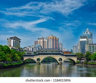 Famous landmark of Chengdu - Anshun bridge over Jin River, Chengdu, Sichuan , China