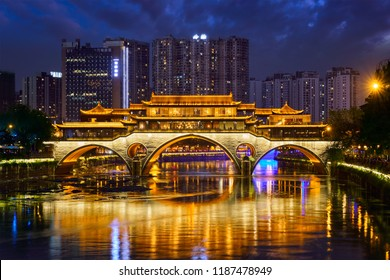 Famous landmark of Chengdu - Anshun bridge over Jin River illuminated at night, Chengdu, Sichuan , China