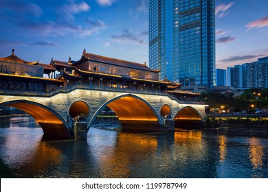 Famous landmark of Chengdu - Anshun bridge over Jin River illuminated at night, Chengdue, Sichuan , China