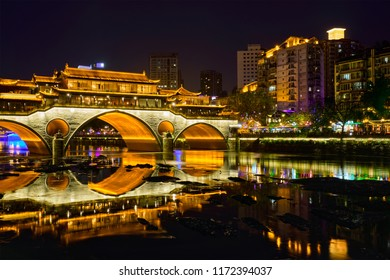 Famous landmark of Chengdue - Anshun bridge over Jin River illuminated at night, Chengdue, Sichuan , China