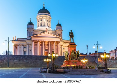 Famous landmark in Finnish capital: scenic evening summer view of Senate Square with Lutheran cathedral and monument to Russian Emperor Alexander II in the Old Town of Helsinki, Finland
