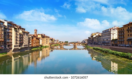 Famous landmark of Florence is the Bridge Trinity. Renaissance bridge over river Arno. Italy, June 2017. Ponte Santa Trinita.
