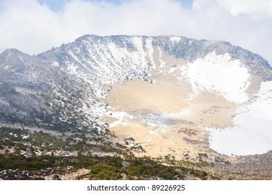 Famous landmark - Hallasan mountain volcanic crater at Jeju island Korea