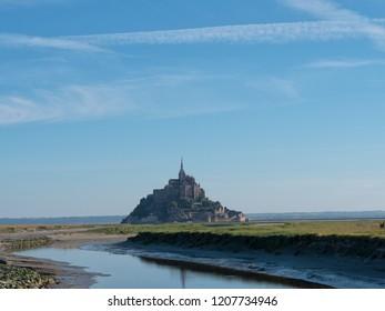 Famous landmark Mont Saint-Michel, it is a rocky tidal island in Normandy, France