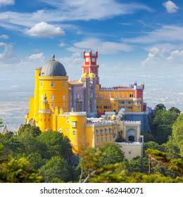 Famous Landmark - Nacional Palace of  Pena and blue sky - Sintra, Lisboa, Portugal, Europe