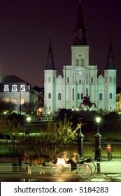 Famous landmark on Jackson square at night, New Orleans