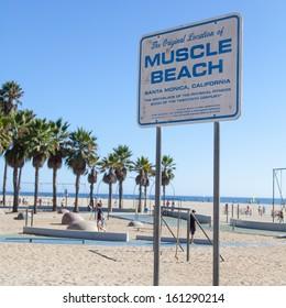 Famous landmark on Santa Monica beach, a monument for all fitness fan