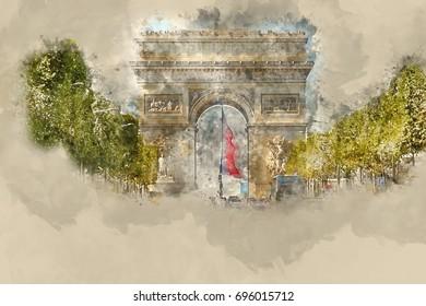 Peace arch covered snow sempione park stock photo 166134416 famous landmark in paris arc de triomphe triumphs arc malvernweather Gallery