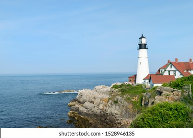 Famous Landmark Portland Head Lighthouse at Fort Williams Park, Portland, Maine on a Bright Sunny Day