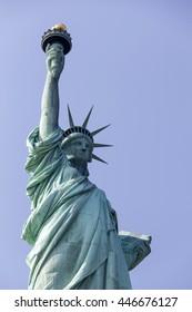 Famous landmark Statue of Liberty against blue sky