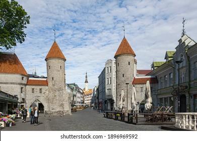Famous Landmark Viru Gate in Old Town of Tallinn with Towers, Bastions, Best Preserved Medieval Fortifications in Tallinn, Estonia, Europe in June 2019