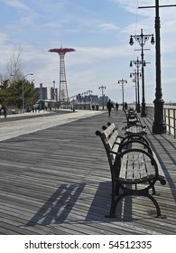 famous landmarked Parachute ride on the boardwalk of Coney Island, NYC