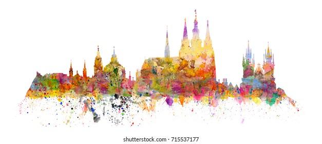 Famous landmarks of Prague Skyline