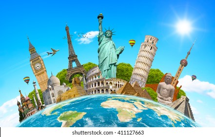 Famous landmarks of the world grouped together on planet Earth