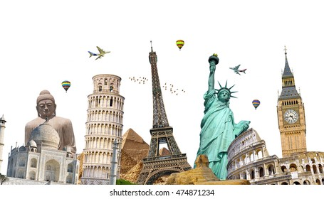 Famous landmarks of the world grouped together on white background