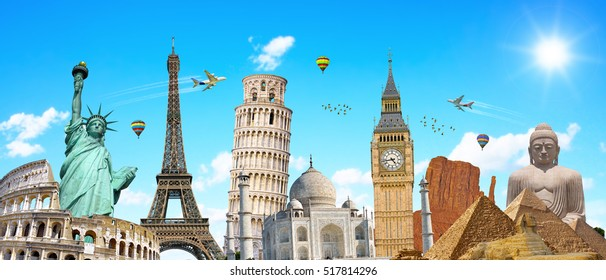 Famous landmarks of the world grouped together in front of blue sky