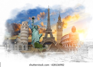 Famous landmarks of the world with hand-drawn effect