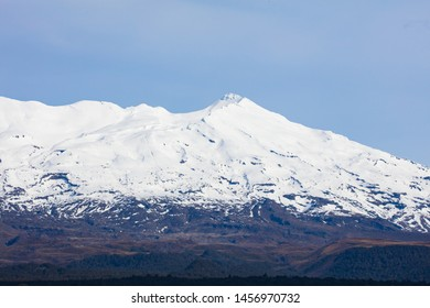 The famous landscape of Tongariro National Park around Mt Ruapehu on a cold clear winter's day