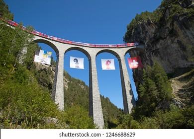 Famous Landwasser viaduct nearby Filisur town in the swiss alps