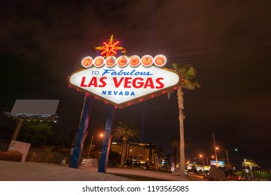 Famous Las Vegas sign at night in Las Vegas city, Nevada, USA