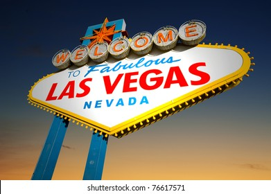 Famous Las Vegas Welcome Sign at sunset in the background