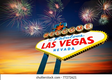 Famous Las Vegas Welcome Sign at sunset with firework in the background.