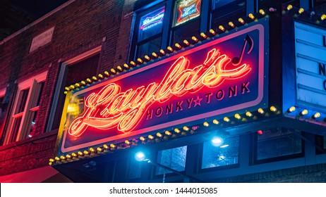 Famous Laylas Bar at Nashville Broadway - NASHVILLE, TENNESSEE - JUNE 15, 2019