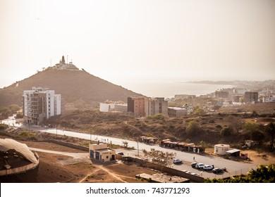 The famous lighthouse on a hill of Dakar, Senegal.
