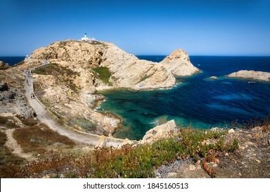 The Famous Lighthouse Phare de la Pietra on the Rocky Island Ile de de la Pietra just outside L'Ile Rousse on Corsica, France