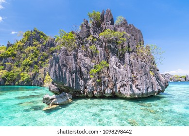 Famous Lime rocks of Coron island Busuanga Palawan Philippines