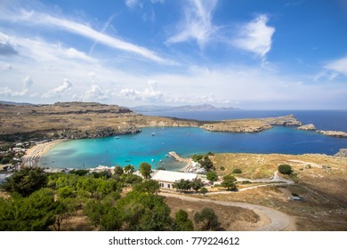 Famous Lindos bay on Rhodos island, Greece