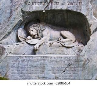 Famous lion monument in lucerne