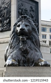 Famous Lion statue in Trafalgar Square, London