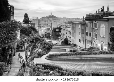 Famous Lombard Street in San Francisco at sunrise in black and white