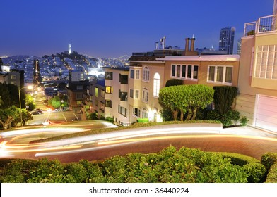 Famous Lombard Street in San Francisco at night
