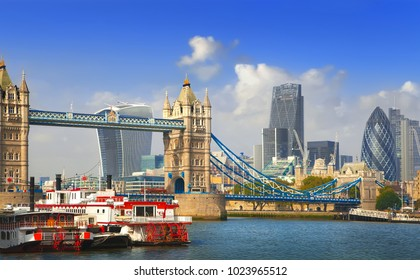 Famous London Tower Bridge over the River Thames with modern London cityscape background