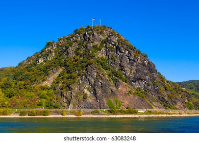 The famous Loreley rock on the bank of the Rhine near St. Goarshausen, Germany