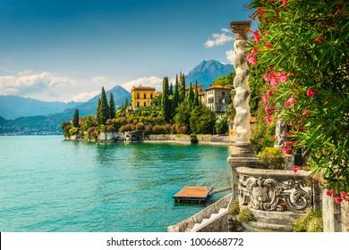 Famous luxury villa Monastero, stunning botanical garden decorated with mediterranean oleander flowers, lake Como, Varenna, Lombardy region, Italy, Europe - Shutterstock ID 1006668772