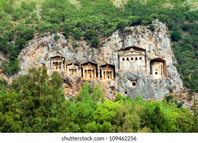 Famous Lycian Tombs of ancient Caunos city, Dalyan, Turkey
