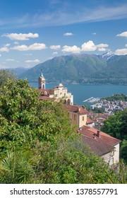 the famous Madonna del Sasso Church in Locarno at Lake Maggiore,Ticino Canton,Switzerland