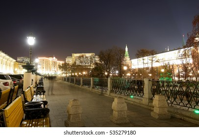 Famous  Manezhnaya  square near the Kremlin in Moscow (at night), Russia