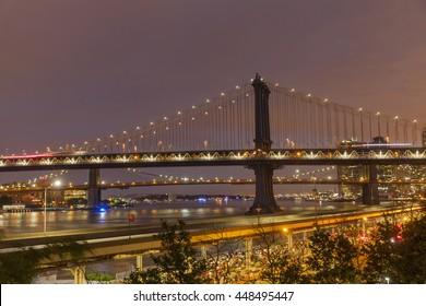 Famous Manhattan bridge at dusk