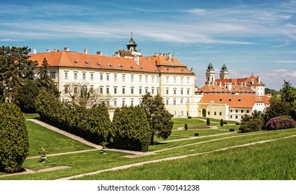 Famous manor and Church of the assumption of the Virgin Mary, Valtice, southern Moravia, Czech republic. Architectural scene. Travel destination.