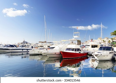 Famous marina of Puerto Banus near Marbella on Costa del Sol, Andalusia, Malaga province, Spain