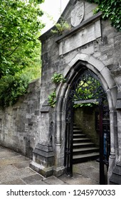 Famous Marshs Library in Dublin Ireland is adjacent to Saint Patricks Cathedral. The public street entrance is lined with various plants and trees and old steps leading to the doorway.