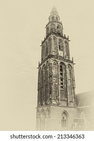 Famous Martinitower in Groningen in the Netherlands in a vintage postcard style
